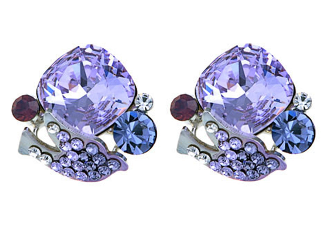 Swarovski Crystal Element Silver Purple Peaceful Dove Stud Earrings