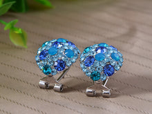 Load image into Gallery viewer, Swarovski Crystal Element Silver Teal Blue Oval Clamp Stud Earrings