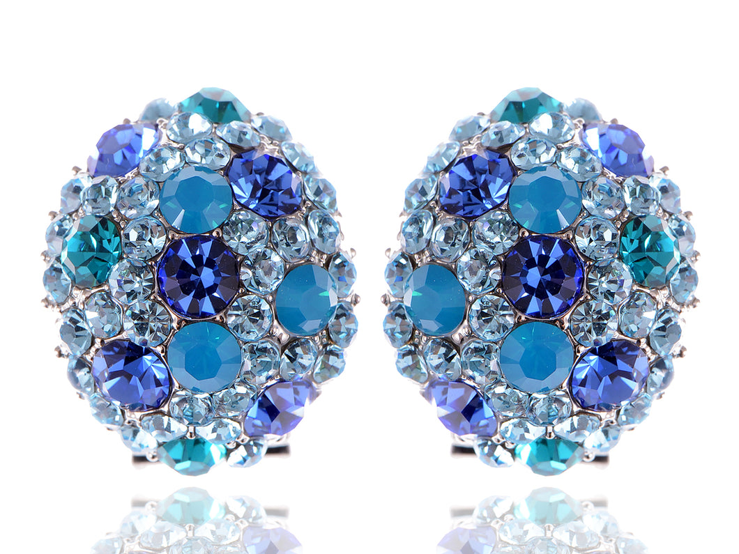 Swarovski Crystal Element Silver Teal Blue Oval Clamp Stud Earrings