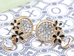 Swarovski Crystal Black Enamel Flowers Stud Earrings