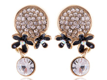 Load image into Gallery viewer, Swarovski Crystal Black Enamel Flowers Stud Earrings