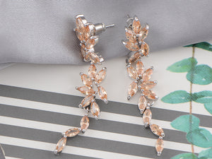Swarovski Crystal Element Gold Topaz Colored Floral Leaf Vine Long Dangle Drop Earrings