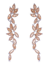 Load image into Gallery viewer, Swarovski Crystal Element Gold Topaz Colored Floral Leaf Vine Long Dangle Drop Earrings