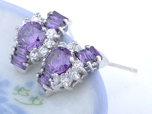 Element Silver Purple Floral Time Watch Band Stud Earrings