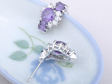Load image into Gallery viewer, Element Silver Purple Floral Time Watch Band Stud Earrings