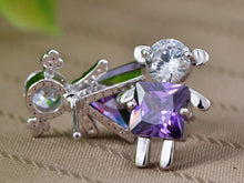 Load image into Gallery viewer, Swarovski Crystal Element Silver Purple Girl Boy Square Triangle Stud Earrings