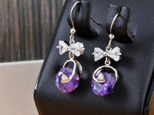 Load image into Gallery viewer, Swarovski Crystal Element Silver Purple Bow Ribbon Fish Hook Dangle Earrings