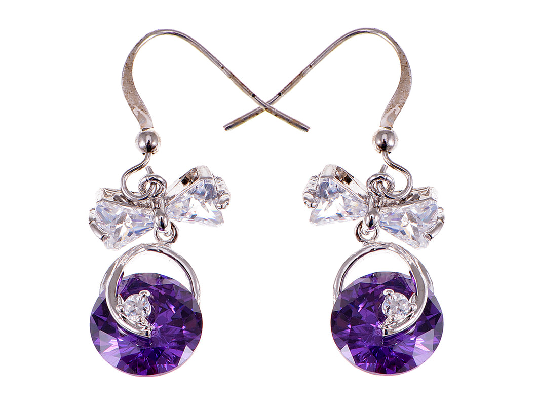 Swarovski Crystal Element Silver Purple Bow Ribbon Fish Hook Dangle Earrings