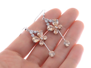 Swarovski Crystal Element Silver Topaz Colored Butterfly Insect Dangle Earrings