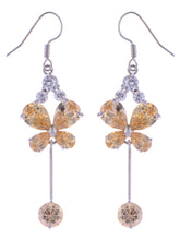 Load image into Gallery viewer, Swarovski Crystal Element Silver Topaz Colored Butterfly Insect Dangle Earrings