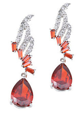 Load image into Gallery viewer, Swarovski Crystal Element Silver Ruby Red Colored Abstract Music Note Dangle Earrings