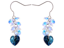 Load image into Gallery viewer, Swarovski Crystal Element Silver Blue Heart Aurora Borealis Colored Cluster Dangle Earrings