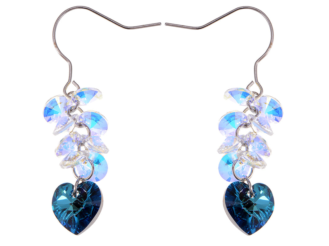 Swarovski Crystal Element Silver Blue Heart Aurora Borealis Colored Cluster Dangle Earrings
