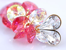 Load image into Gallery viewer, Swarovski Crystal Element Gold Rose Pink Colored Heart Cluster Dangle Earrings