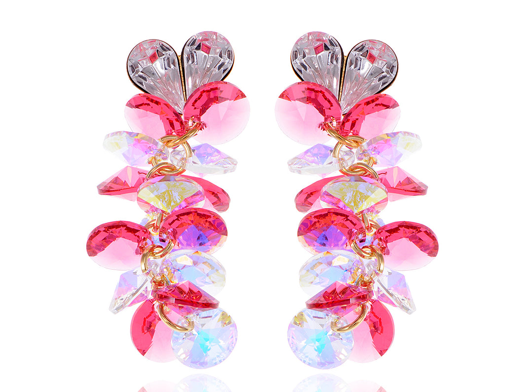 Swarovski Crystal Element Gold Rose Pink Colored Heart Cluster Dangle Earrings