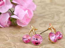 Load image into Gallery viewer, Swarovski Crystal Element Gold Rose Pink Colored Cherry Fruit Mini Stud Earrings
