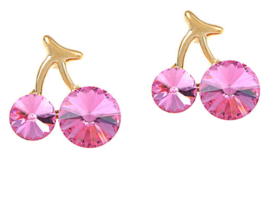 Swarovski Crystal Element Gold Rose Pink Colored Cherry Fruit Mini Stud Earrings
