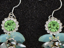 Load image into Gallery viewer, Swarovski Crystal Element Silver Floral Mint Opal Colored Cluster Dangle Earrings