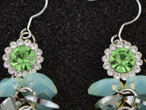 Swarovski Crystal Element Silver Floral Mint Opal Colored Cluster Dangle Earrings