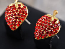 Load image into Gallery viewer, Swarovski Crystal Red Light Siam Sweet Strawberry Stem Stud Earrings