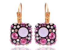 Load image into Gallery viewer, Swarovski Crystal Element Gold Pink Black Chocolate Square Dangle Earrings