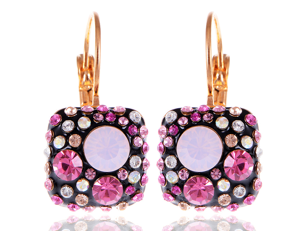 Swarovski Crystal Element Gold Pink Black Chocolate Square Dangle Earrings