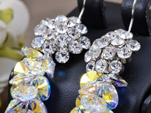 Load image into Gallery viewer, Swarovski Crystal Element Silver Aurora Borealis Grape Cluster Dangle Earrings