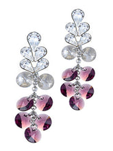 Load image into Gallery viewer, Swarovski Crystal Element Silver Amethyst Purple Colored Circle Teardrop Dangle Earrings
