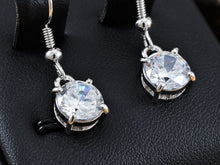 Load image into Gallery viewer, Swarovski Crystal Element Silver Colored Circle Fish Hook Dangle Earrings