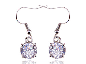 Swarovski Crystal Element Silver Colored Circle Fish Hook Dangle Earrings