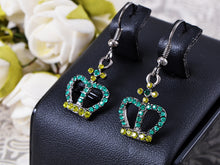 Load image into Gallery viewer, Cz Element Silver Emerald Green Queen Crown Hook Dangle Earrings