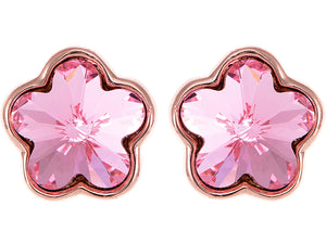 Swarovski Crystal Rose Pink Cherry Blossom Flower Stud Earrings