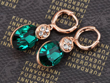 Load image into Gallery viewer, Swarovski Crystal Elements Rose Oval Emerald Classic Pierced Earrings