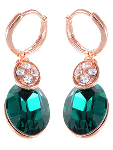 Swarovski Crystal Elements Rose Oval Emerald Classic Pierced Earrings