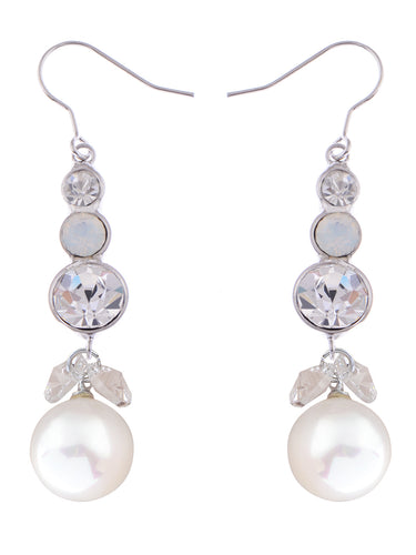 Element Silver Pearl Colored Fish Hook Dangle Earrings
