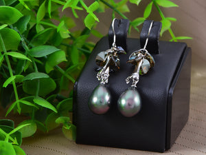 Swarovski Crystal Element Silver Grey Pearl Teardrop Cluster Fish Hook Dangle Earrings
