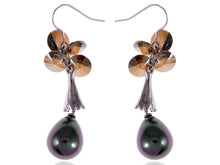 Load image into Gallery viewer, Swarovski Crystal Element Silver Grey Pearl Teardrop Cluster Fish Hook Dangle Earrings