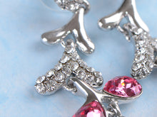 Load image into Gallery viewer, Swarovski Crystal Pink Silver Snow Branch Water Drop Stud Earrings