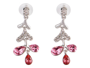 Swarovski Crystal Pink Silver Snow Branch Water Drop Stud Earrings