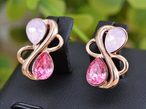 Swarovski Crystal Element Rose Gold Pink Teardrop Abstract Infinity Symbol Sign Stud Earrings