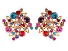 Load image into Gallery viewer, Swarovski Crystal Multicolored Colorful Square Shape Stud Earrings
