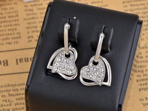 Swarovski Crystal Element Silver Love Heart Dangle Earrings