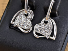 Load image into Gallery viewer, Swarovski Crystal Element Silver Love Heart Dangle Earrings