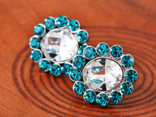 Load image into Gallery viewer, Swarovski Crystal Element Silver Zircon Blue Colored Floral Flower Petal Stud Earrings