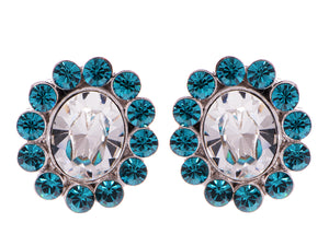 Swarovski Crystal Element Silver Zircon Blue Colored Floral Flower Petal Stud Earrings