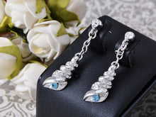 Load image into Gallery viewer, Swarovski Crystal Element Silver Blue Sea Shell Conch Dangle Drop Earrings