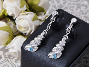 Swarovski Crystal Element Silver Blue Sea Shell Conch Dangle Drop Earrings