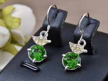 Load image into Gallery viewer, Swarovski Crystal Element Silver Green Leaf Circle Fish Hook Dangle Earrings