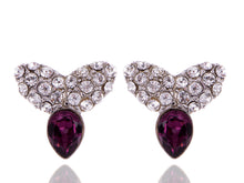 Load image into Gallery viewer, Swarovski Crystal Element Silver Amethyst Purple Colored Contemporary Petal Stud Earrings