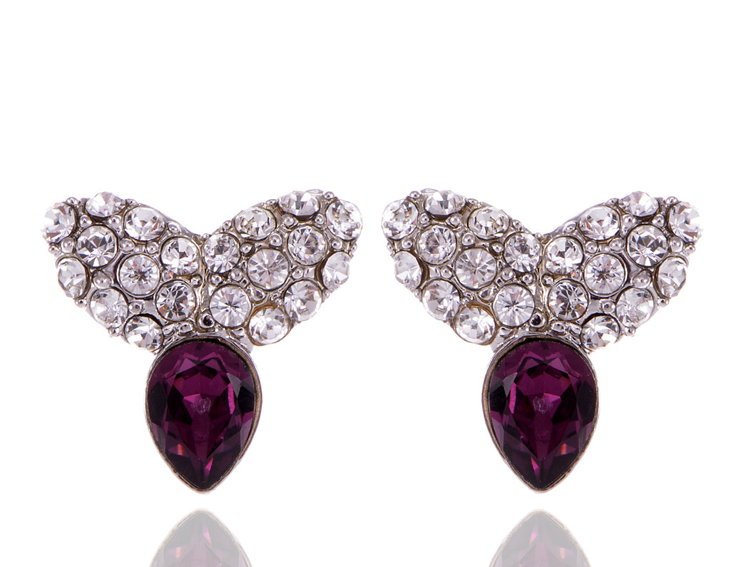 Swarovski Crystal Element Silver Amethyst Purple Colored Contemporary Petal Stud Earrings
